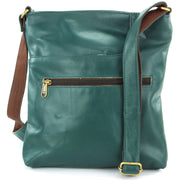 Real Leather Cross Body Messenger Shoulder Bag - Green