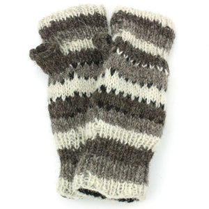 Wool Knit Arm Warmer - Stripe - Oatmeal Grey