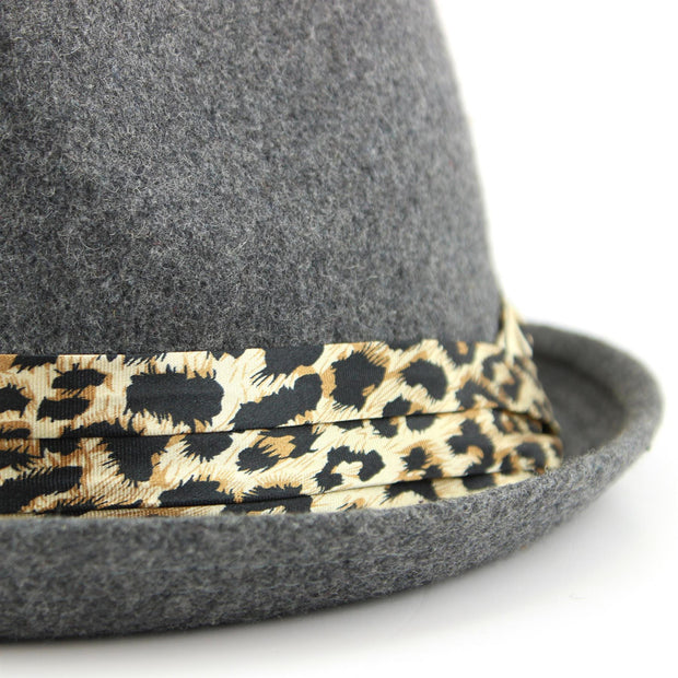Women's felt rolled brim trilby hat with satin leopard print band - Grey (57cm)