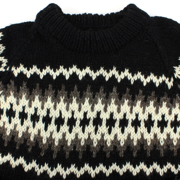 Chunky Wool Knit Nordic Fairisle Pattern Jumper - Black