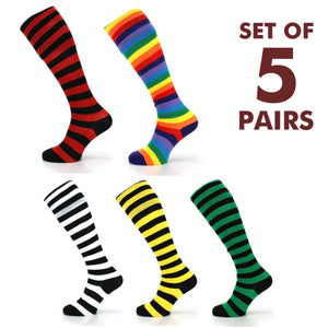 Long Knee High Striped Socks - Set 4