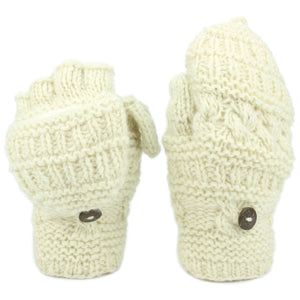 Chunky Wool Fingerless Shooter Gloves - Mixed Knits - Cream