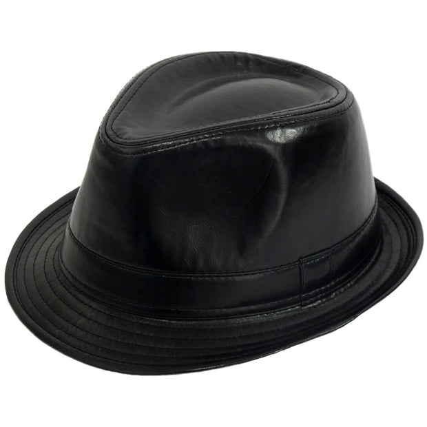 PU Leather Retro Trilby Hat - Black