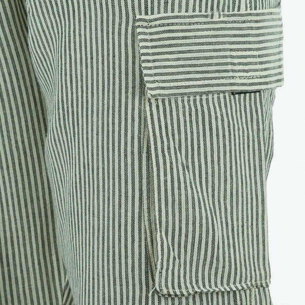 Cotton Combat Trousers Pant - Cream Black Stripe