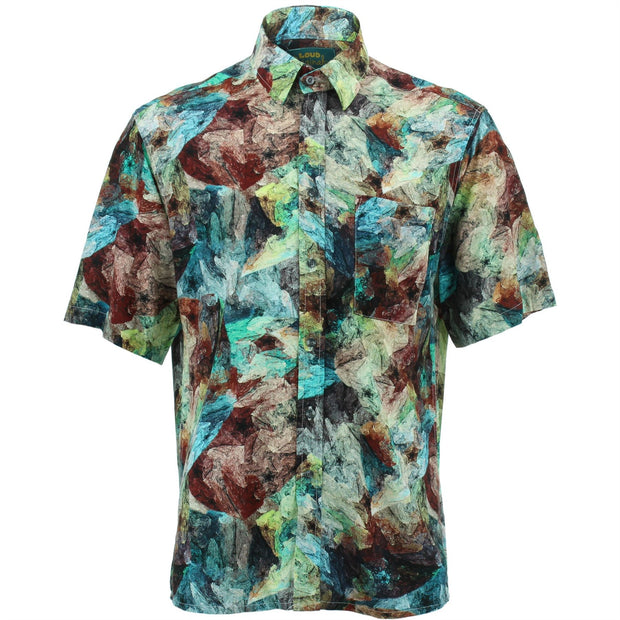 Regular Fit Short Sleeve Shirt - Oil Painting