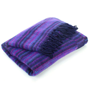 Vegan Wool Shawl Blanket - Stripe - Navy Purple
