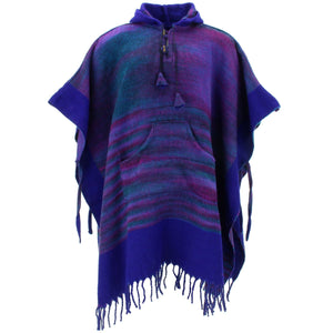 Soft Vegan Wool Hooded Tibet Poncho - Dark Purple Blue