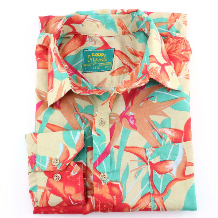 Tailored Fit Long Sleeve Shirt - Red & Turquoise Floral