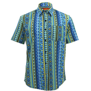 Tailored Fit Short Sleeve Shirt - Blue Aztec