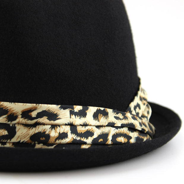 Women's felt rolled brim trilby hat with satin leopard print band - Black (57cm)