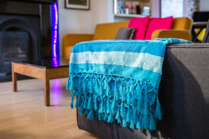 Striped Cotton Blanket With Tassel Edging - Arctic