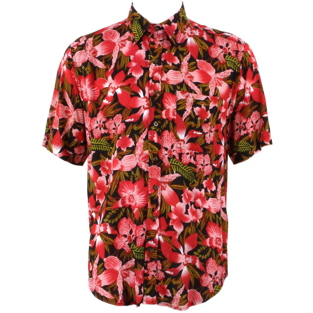 Regular Fit Short Sleeve Shirt - Red & Green Floral