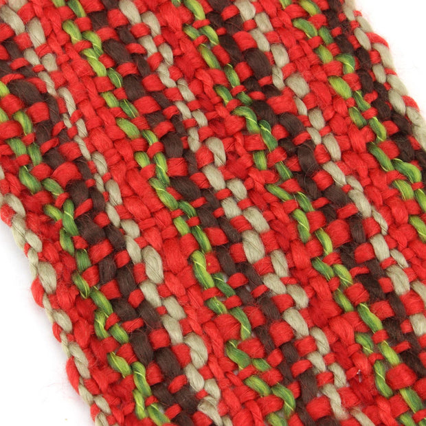 Long Chunky Knit Acrylic Scarf - Red, Brown & Beige
