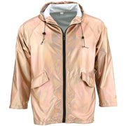 Waterproof Hooded Shiny Jacket - Rose Gold