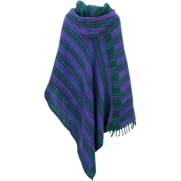 Vegan Wool Hooded Poncho - Racing Green & Purple