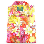 Tailored Fit Short Sleeve Shirt - Pink & Yellow Abstract Floral