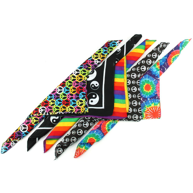 Bandana Face Cover Mask - Set of 5 - Hippie