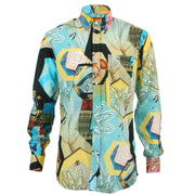 Regular Fit Long Sleeve Shirt - Green & Yellow Abstract Cactus