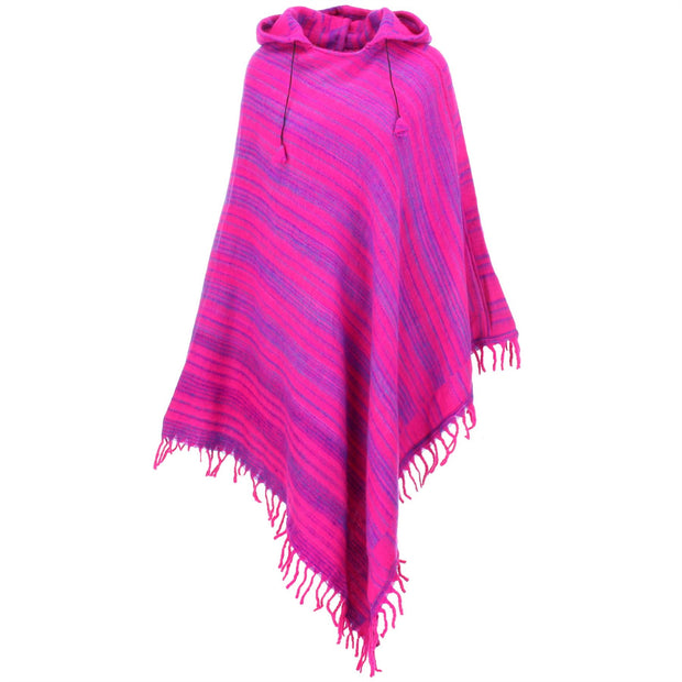 Vegan Wool Hooded Poncho - Pink