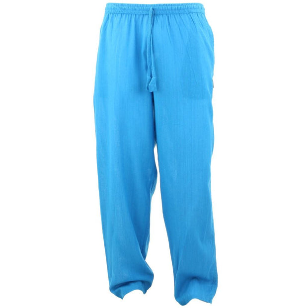Classic Nepalese Lightweight Cotton Plain Trousers Pants - Turquoise