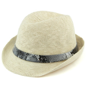 Lightweight trilby hat with faux leather snakeskin band - Off white (57cm)