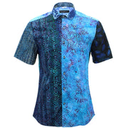 Slim Fit Short Sleeve Mixed Panel Shirt - Blue Mix