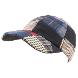 Patchwork Tweed baseball cap with adjustable strap - Blue