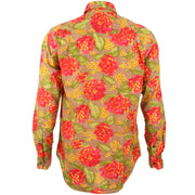 Regular Fit Long Sleeve Shirt - Red & Yellow Floral on Brown