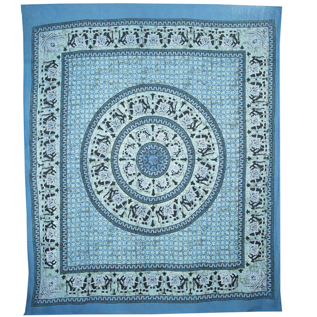 Block Printed Mandala Wall Hanging - Ocean Blue
