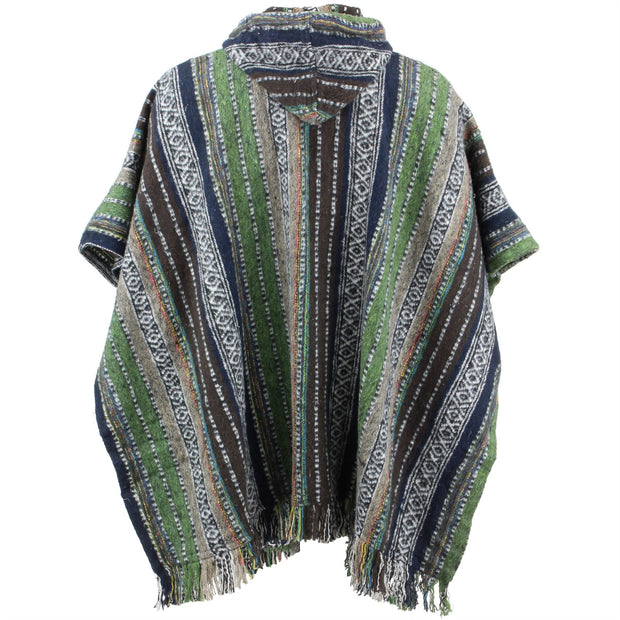 Brushed Cotton Hooded Poncho - Green