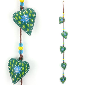 Hanging Mobile Decoration String of Hearts - Green - Brown String