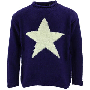 Chunky Wool Knit Star Jumper - Purple & Cream