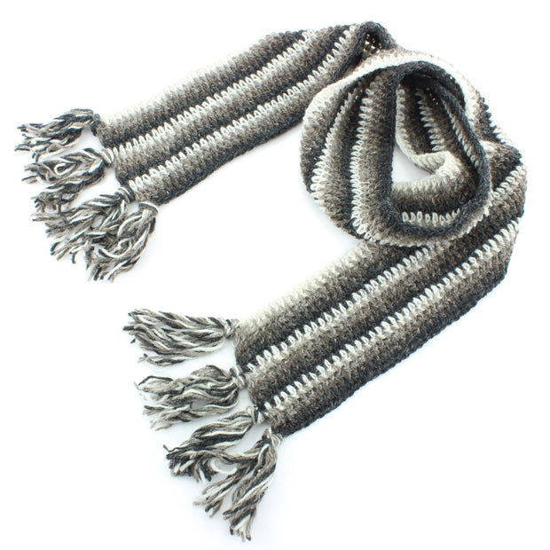 Long Narrow Chunky Wool Knit Scarf - Grey & Oatmeal