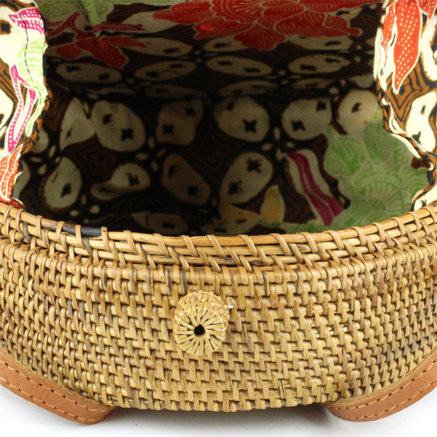 Loud Elephant Handwoven Round Rattan Bag - Bow Loop