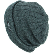 Fine Knit Marl Beanie Hat with Thermal Lining - Grey