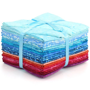 Cotton Batik Pre Cut Fabric Bundles - Fat Quarter - Blues & Reds