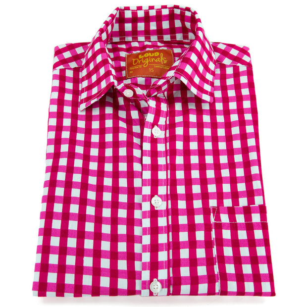 Regular Fit Short Sleeve Shirt - Gingham Check - Pink
