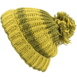 Chunky Wool Knit Baggy Slouch Striped Beanie Bobble Hat - Green