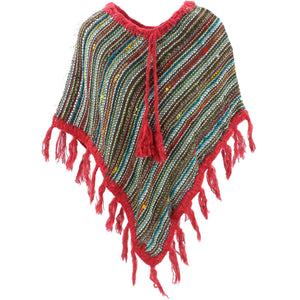 Stripe Crochet Poncho Short - Multi/Red