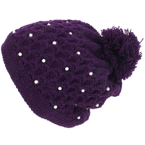 Pearl Lattice Bobble Beanie Hat - Purple