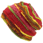 Chunky Ribbed Wool Knit Beanie Hat with Space Dye Design - Red