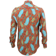 Tailored Fit Long Sleeve Shirt - Blue Feathers & Red Grass