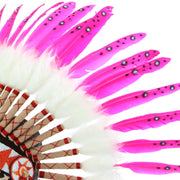 Native Amercian Chief Headdress - Pink Feathers (White Fur)