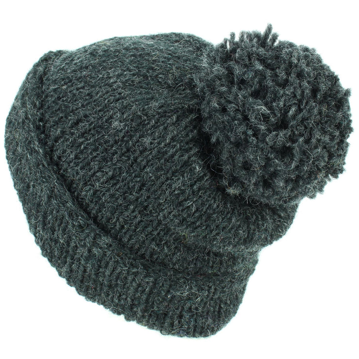 Chunky Wool Knit Baggy Slouch Beanie Bobble Hat - Charcoal