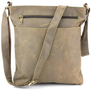 Real Leather Shoulder Bag with Front Zip and Pouch Pocket - Light Brown