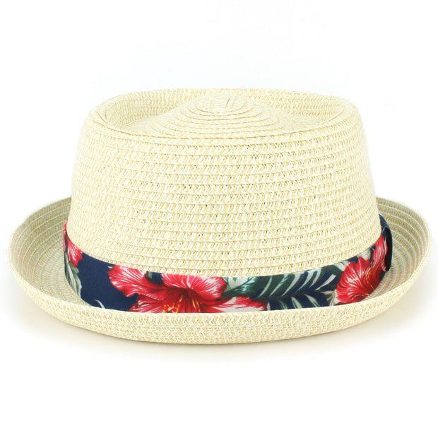 Straw Porkpie Hat with Hawaiian Floral Band - White