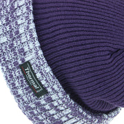 Fine Knit Beanie Hat with Thermal Lining and Marl Turn-up - Purple