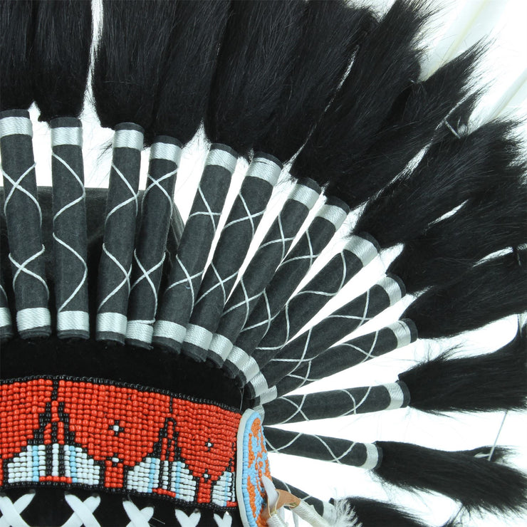 Native Amercian Chief Headdress - Black & White