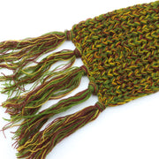 Long Narrow Acrylic Wool Knit Scarf - Green & Gold