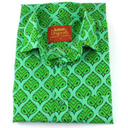 Regular Fit Short Sleeve Shirt - Green Indian Print